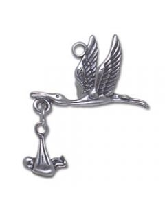 Sterling Silver Stork & Baby Charm, 2 Piece, Moveable