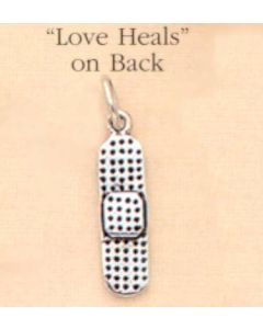 "Sterling Silver Band-Aid Charm: ""Love Heals"""