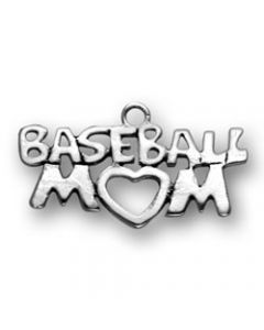 Sterling Silver Baseball Charm: Mom