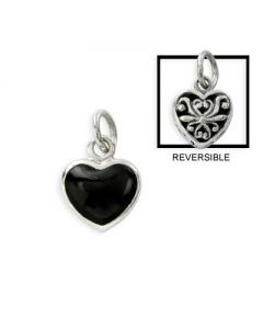 Sterling Silver Heart Charm: Onyx / Filigree Reversible