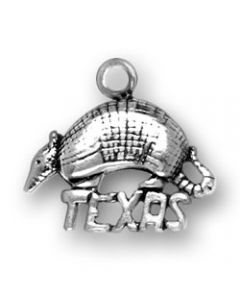 "Sterling Silver Texas Charm: Armadillo on ""Texas"""