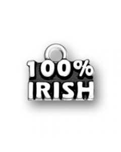 "Sterling Silver Irish Charm: ""100% Irish"""