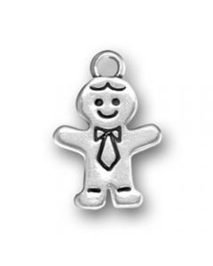 Sterling Silver Dad Charm: Gingerbread Man / Father