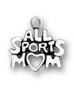 "Sterling Silver Mom Charm, ""All Sports Mom"""