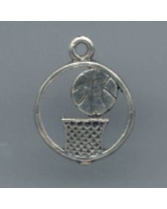 Sterling Silver Basketball Charm: Encircled