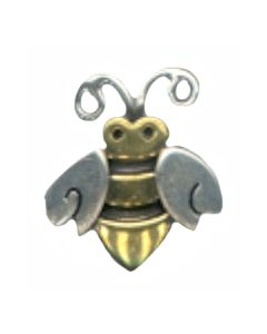 Sterling Silver Bee Charm: Bumble, Two Tone