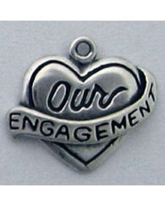 "Sterling Silver Heart Charm: w/ ""Our Engagement"""