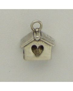 Sterling Silver Birdhouse Charm: Square W/ Heart