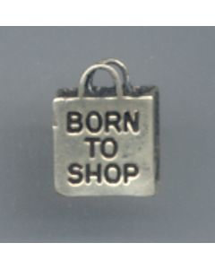 "Sterling Silver Shopping Charm: ""Born To Shop"""