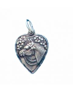 Sterling Silver Horse Head Design on Puff Heart Charm