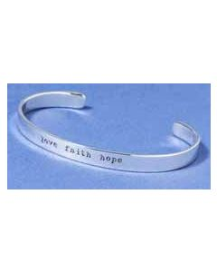 "Sterling Silver Bracelet: ""love faith hope"""