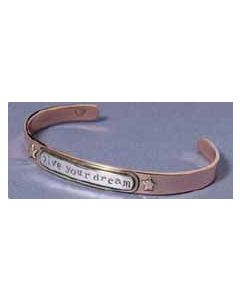 "Bracelet: Mixed Metal ""live your dream"""