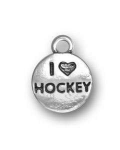 "Sterling Silver Hockey Charm: ""I * Hockey"" On Puck"