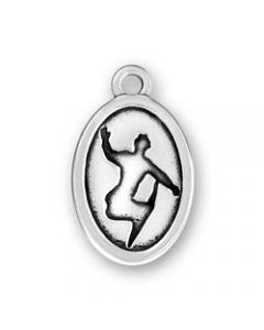 Sterling Silver Snowboarder Disk Charm