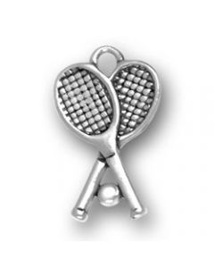 Sterling Silver Tennis Racquets W/Ball Charm BB-1550