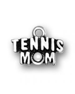"Sterling Silver Tennis Charm: ""Tennis Mom"""