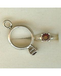 Sterling Silver Birthstone Ring Charm -001-January