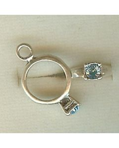 Sterling Silver Birthstone Ring Charm -003-March
