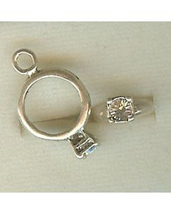 Sterling Silver Birthstone Ring Charm -004-April