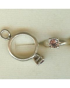 Sterling Silver Birthstone Ring Charm -006-June