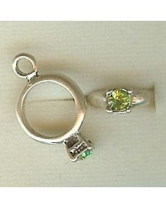 Sterling Silver Birthstone Ring Charm -008-August