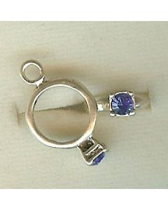 Sterling Silver Birthstone Ring Charm -009-September