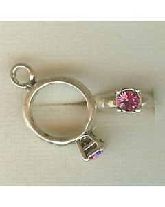 Sterling Silver Birthstone Ring Charm -010-October