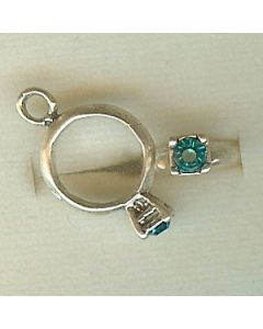 Sterling Silver Birthstone Ring Charm -012-December