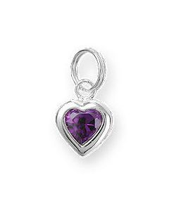 Sterling Silver Birthstone Heart Charm -038-February