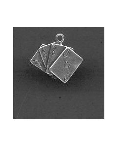 Sterling Silver Cards Charm: Aces