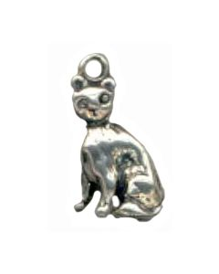 Sterling Silver Cat Charm: Sitting C-072