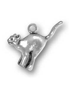 Sterling Silver Cat Charm: Halloween