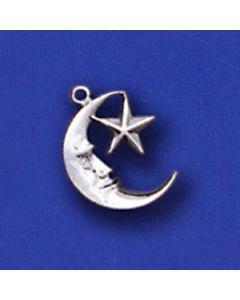 Sterling Silver Moon Star Charm: Small