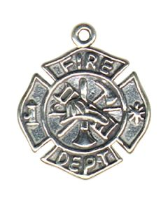 Sterling Silver Fire Dept. Badge Charm