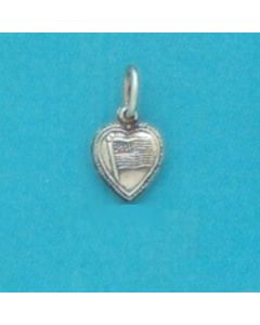 Sterling Silver Heart Charm: Small Puff w/ American Flag