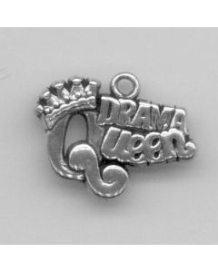 "Sterling Silver Queen Charm, ""Drama Queen"""