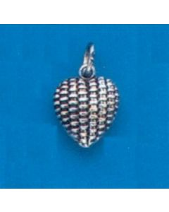Sterling Silver Heart Charm: Basketweave