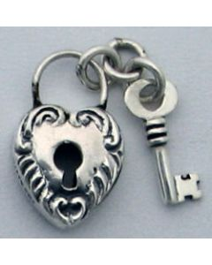 Sterling Silver Heart Lock & Key Charm: Medium