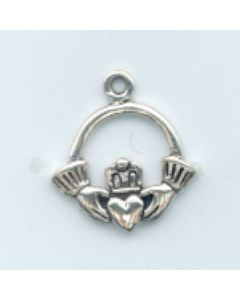 Sterling Silver Claddaugh Charm: Small