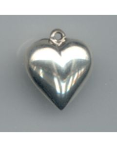 Sterling Silver Heart Charm: Puff, Smooth, 15mm