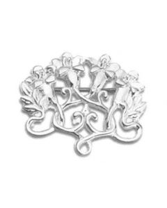 Sterling Silver Charm Pin: Flowering Vines