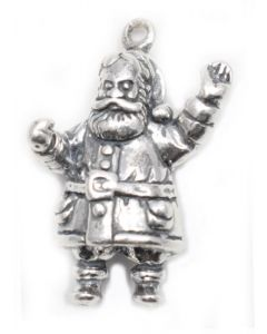 Sterling Silver Santa Charm: Santa w/ Hands Out