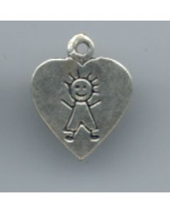 Sterling Silver Boy Charm: Boy On Heart, Flat