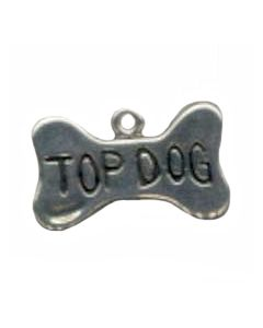 "Sterling Silver Dog Charm: Bone, ""Top Dog"""