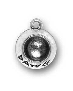 Sterling Silver Dog Charm: Bowl
