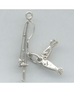 Sterling Silver Fishing Charm: Pole