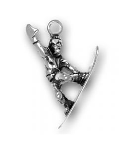 Sterling Silver Snowboarder Charm, Small