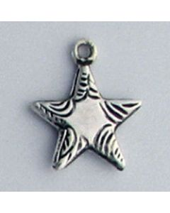 Sterling Silver Star Charm: Large w/ Decorative Tips