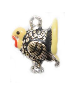 Sterling Silver Turkey Charm: Enamel
