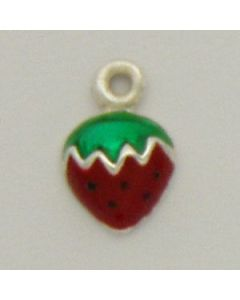 Sterling Silver Strawberry Charm: Sm., Enameled